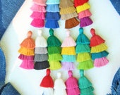 "Tiered Tassels New SUMMER Style, 3"" Handmade Cotton Earring or Necklace Tassels, Jewelry DIY, Ombre Colors, Layered Tassels, 1 pc"