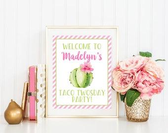 Taco Twosday Birthday Party Sign, Taco Twosday Welcome Sign, Cactus Birthday Party Sign, Fiesta Sign