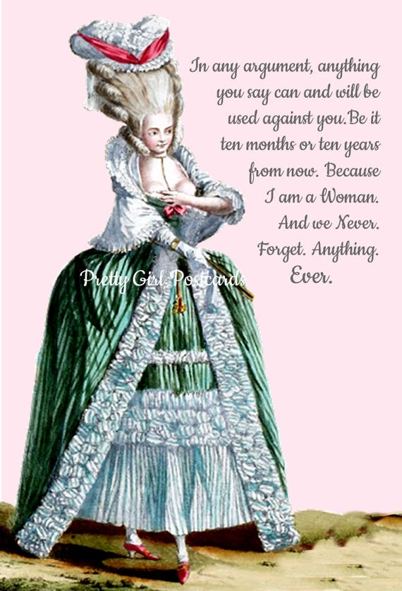 MARIE ANTOINETTE Card Funny Quote Postcard Witty Postcard Funny Card Pretty Girl Postcards Marie Antoinette Wig Argument Green Dress