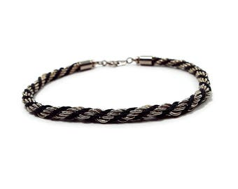 Vintage Twisted Rope Chain Bracelet Black Cord Gold Tone Retro 1980s 80s Spring Clasp Womens Jewelry