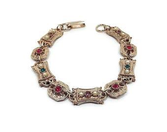 Sarah Coventry Vintage Faux Pearl Rhinestone Bracelet Antiqued Gold Tone Multi Color Snap Lock Clasp Metal Link