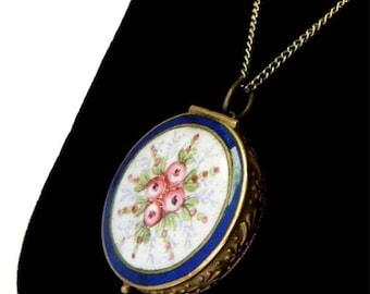 Vintage Enameled Pendant Necklace