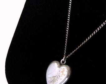 Vintage Sterling Silver Heart Locket Pendant Necklace