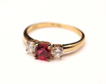 Vintage Stauer Three Stone Ring - Purity Ring - Promise Ring - Pink - Gold - Sterling Silver - 925