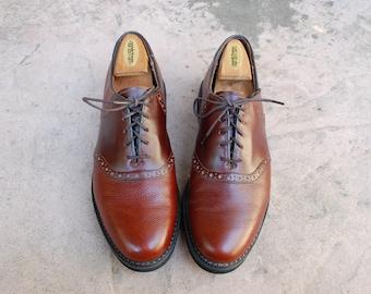 Vintage Mens 9.5 Dexter USA Tie Sneakers Oxfords Brogues Saddle Shoes Brown Pebbled Leather Shoes Dress Shoes Classic Wedding Suit Shoes