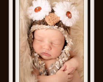 Brown Owl Hat, MADE TO ORDER, All Sizes, Newborn, Baby, Toddler, Child, Adult, Wild Animal Hat, Barn Owl Hat, Photography Prop, Woodland
