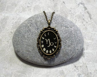 Moon Phase Capricorn Necklace Pendant Antique Bronze