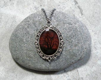 Dark Red Sky Necklace Black Tree Pendant Jewelry