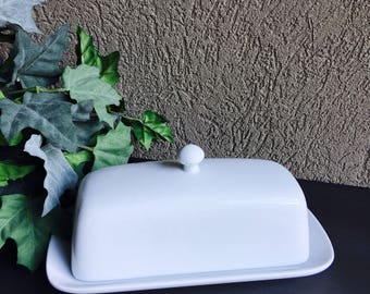 Bia Cordon Bleu Butter Dish White Stoneware Covered - #F5123
