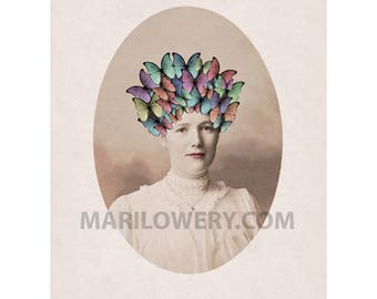Butterfly Art Print, Unusual Portrait of Victorian Woman with Headdress, 8.5 x 11 Inch Spring Decor