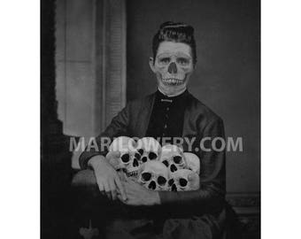 Macabre Art 8.5 x 11 Inch Print, Black and White Skull Art, Creepy Halloween Dark Wall Art, Halloween Horror Decor