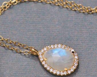 ONLY ONE Genuine Rainbow Moonstone Halo Pendant Necklace,CZ Pave Bezel,14K Gold Filled Faceted Moonstone,Gemstone Necklace,Pear Teardrop