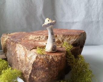 miniature mushroom house pale blue and yellow tiny house miniature house enchanted fairy garden decor terrarium decoration tiny gardening