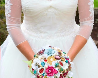 Brooch Bouquet vintage lace wedding bouquet, Deposit only