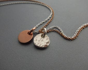 Rose Gold and Silver Layered Necklace Two Discs Choker Mixed Metals Jewelry