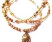 African Waist Beads, Jasper Scarab Ancient Egyptian Waist Beads, Ankh Waistbeads, Scarab Belly Chain,