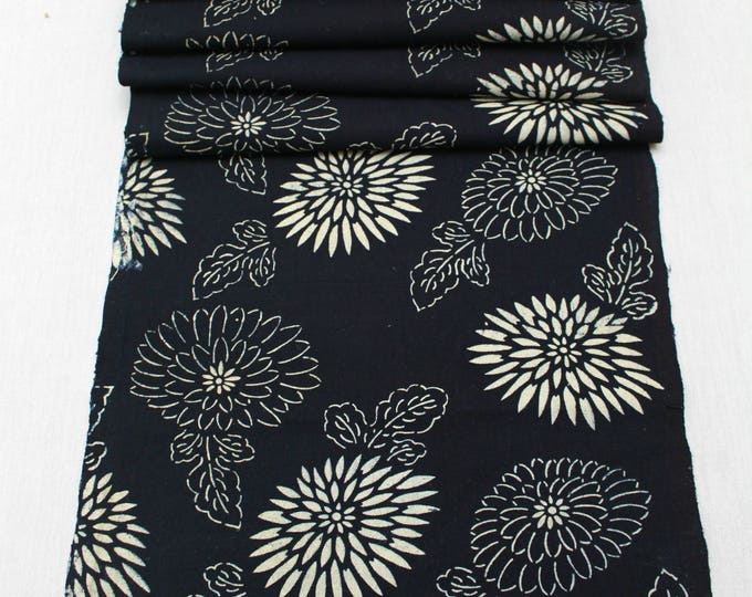 Japanese Katazome Cotton. Boro Textile. Natural Indigo Stencil Dyed Folk Fabric  (Ref: 1869)