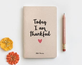 Thanksgiving Gift Notebook & Pencil Set - Gratitude Journal, Today I am Thankful, Midori Insert Travelers Journal 3 Sizes