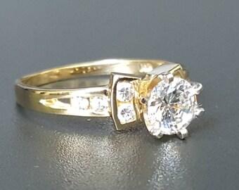 14K Engagement Ring Yellow Gold Size 8 Wedding Ring
