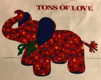 Tons of Love -- Vintage Fabric Panel -- elephant, valentines day, hearts, soft sculpture, stuffed animal, home decor