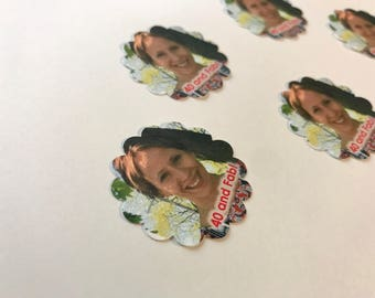 Photo Party Confetti Cupcake Toppers 1.5 Inch Scalloped Edges - 50 pieces - Personalized Photo Confetti