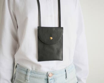 Phone Case Black Leather, phone bag, neck pouch, phone strap case, cellphone bag, festival bag, mini travel bag