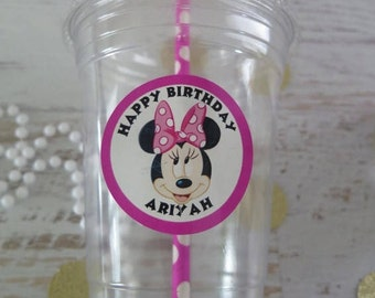 Minnie Mouse • Plastic Disposable Party Favor Cups w/ Lids, Straws & Tags • Set of 12