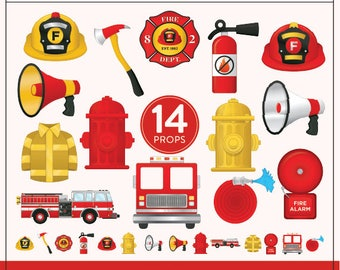 Printable Fire Fighter Photo Booth Props | 14 Printable Fireman Props | Instant Download | Fireman Cupcake Toppers