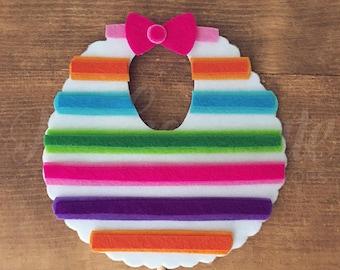 Rainbow Baby Bibb | Fiesta Prop | Fiesta Baby Shower Props | Fiesta Baby Shower Decor