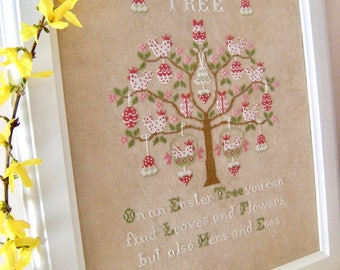 INSTANT DOWNLOAD Easter Tree PDF cross stitch patterns Cuore e Batticuore garden eggs Mother's Day Birthday