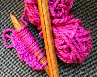 Large Wood Knitting Needles - Oak with Hand Turned Walnut Tops, Size 35
