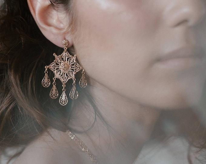 Ursae Minoris earrings -star earrings - gold plated 18k dangle earrings - celestial earrings  - bridal 20s ear adornment