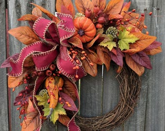 Fall Wreaths, Pumpkin Wreaths, Wreaths for fall, Halloween Thanksgiving wreath, Wreaths for door, Wreaths Autumn Wreath, Harvest Wreath