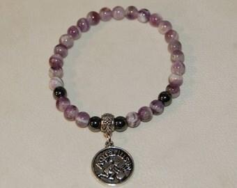 Aquarius Zodiac Sign Gemstone Charm Bracelet Chevron Amethyst Bracelet Stackable Zodiac Jewelry Calming Meditation Bracelet for Her