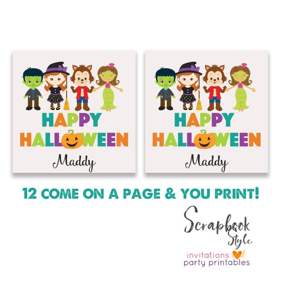 Happy halloween trick or treat tag halloween favor tags like this item stopboris Images