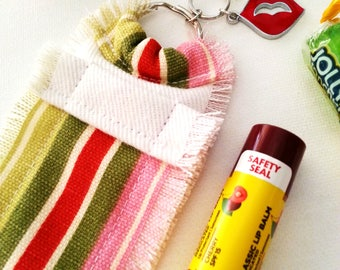 Candy Lip Balm Purse Clip, Chapstick Holder Keychain for Women, Hard Candy Charm, Girlie Boutique Fashion Accessory, Clip On Purse Bling