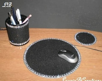 BLACK & BLING Computer Desk Set - Sparkling black eco felt w/ clear rhinestones