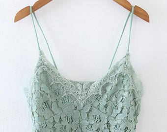 Women Vintage Lace Crop top, strap lace top, Green romantic top, Bohemian top, lace blouse, sexy top, women's clothing, sexy clothing, blue