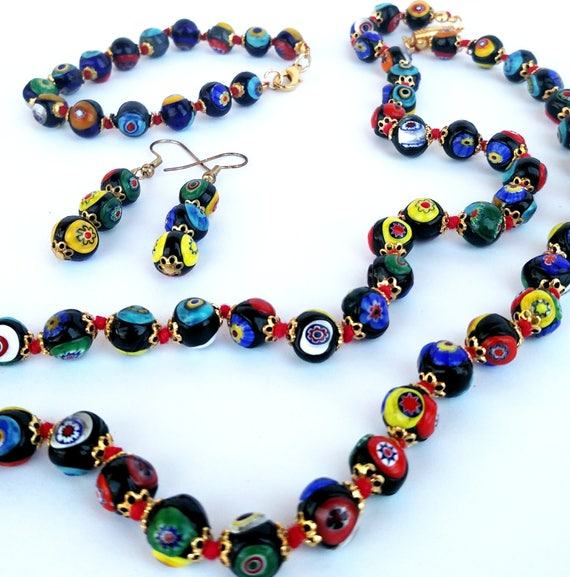 Vintage Multi-Colored Millefiore Venetian Glass Beaded Necklace, Earring and Bracelet Set