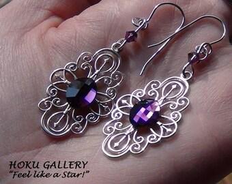 "Filigree / Swarovski Crystal Flatback Earrings - Sterling Silver Filigree - 2.25"" - Hand Crafted Artisan Jewelry"