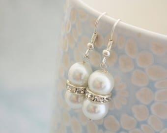 White Bridal Earrings, White Glass Pearl and Rhinestone Bridesmaids Earrings, Wedding Earrings, Gift for Her, UK Seller
