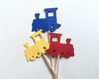 24 Train Cupcake Toppers, Primary Colors, Party Decor, Baby Showers, Birthdays, Red, Yellow, Blue, Double-Sided, Travel Theme