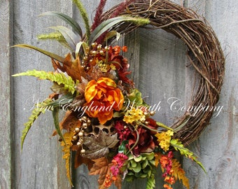 Fall Wreath, Autumn Wreaths, Elegant Fall Wreath, Elegant Thanksgiving Wreath, Fall Designer Wreath, Fall Floral Wreath, New Fall Wreaths