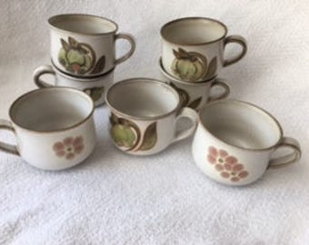 Denby English Pottery Mugs Cups Made in England, Sage, Rust, Brown, Cream Boho 70s Troubadour and Gypsy Pattern