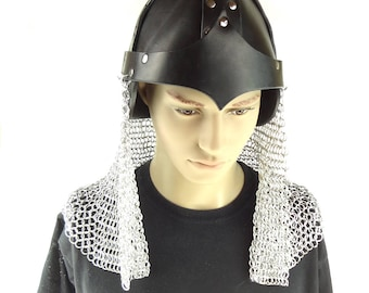 Knight's Chainmaille And Leather Helm For Cosplay Game Of Thrones Or Renaissance Festival