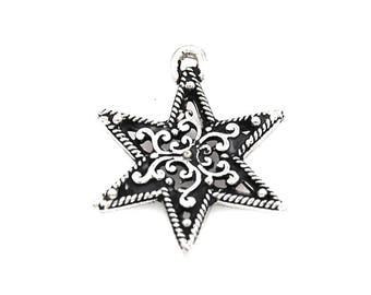 Filigree Star Antique Silver Pewter Charm -1