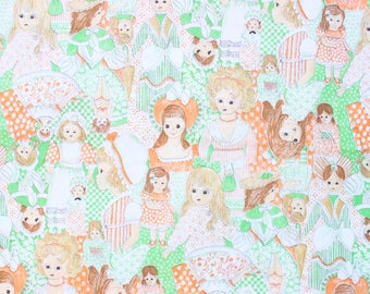 1970's Elegant Female Artist Fabric on Green with Orange and White hues Retro Material 70s novelty print cotton thin woven