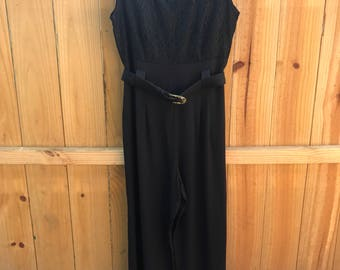 Vintage 80s Black Belted Pantsuit / 90s Black Belted Sleeveless Jumpsuit With Lace Bodice