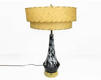 "table lamp, Mid century modern, 28"", double fiberglass shade, 1950s, 1960s, ceramic, retro, atomic, Mayfield Lamp Corp."