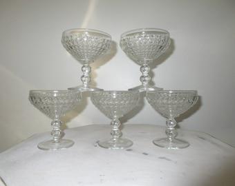 5-6oz crystal Viking New Martinsville Glass thousand eye sherbet glasses Thousand Eye Champagne Sherbet Dessert/Wine Glasses